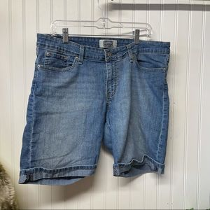 Denim Cuffed Bermuda Jean Shorts Size 14
